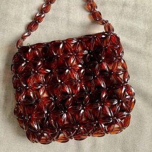 Brown handmade beaded handbag